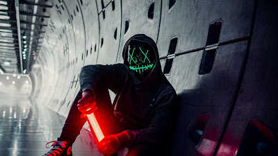 Alone Man, Hoodie, neon mask, tunnel, lights