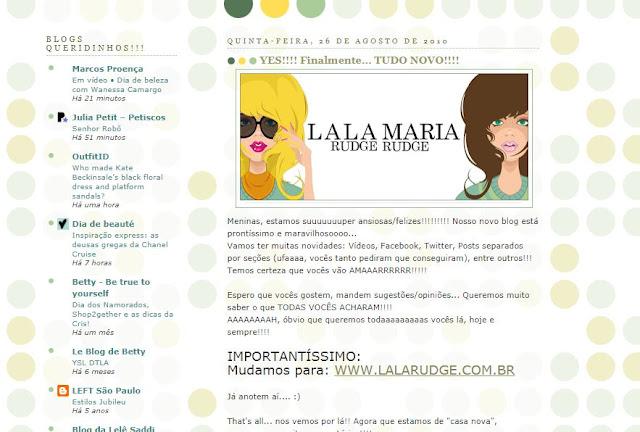 Blog da Lala no início