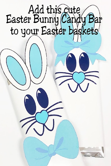 Give someone special a sweet Easter bunny candy bar in their Easter basket with this exclusive printable Turquoise Easter Bunny candy bar wrapper.