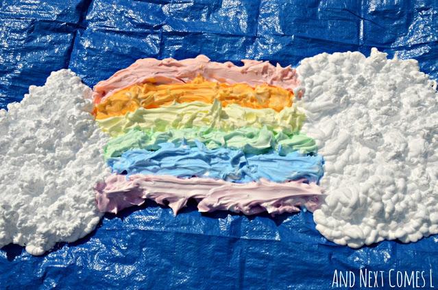 shaving cream rainbow - summer camp ideas