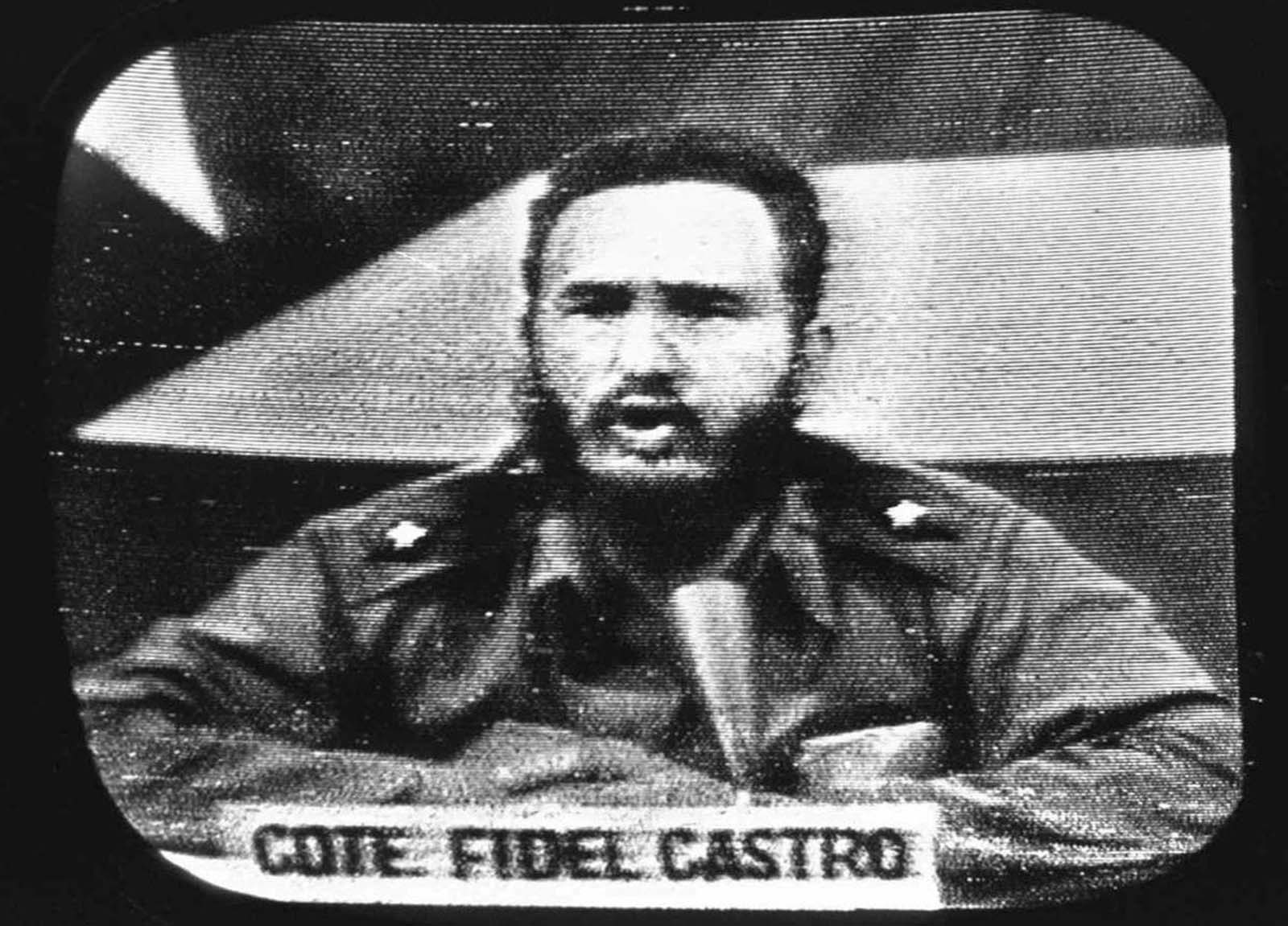 Cuban President Fidel Castro replies to President Kennedy's naval blockade via Cuban radio and television, on October 23, 1962.