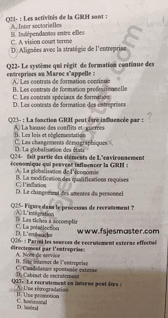 Exemple Concours Master Management des Ressources Humaines (MRH) 2018-2019 - Fsjes Ibn Zohr Agadir
