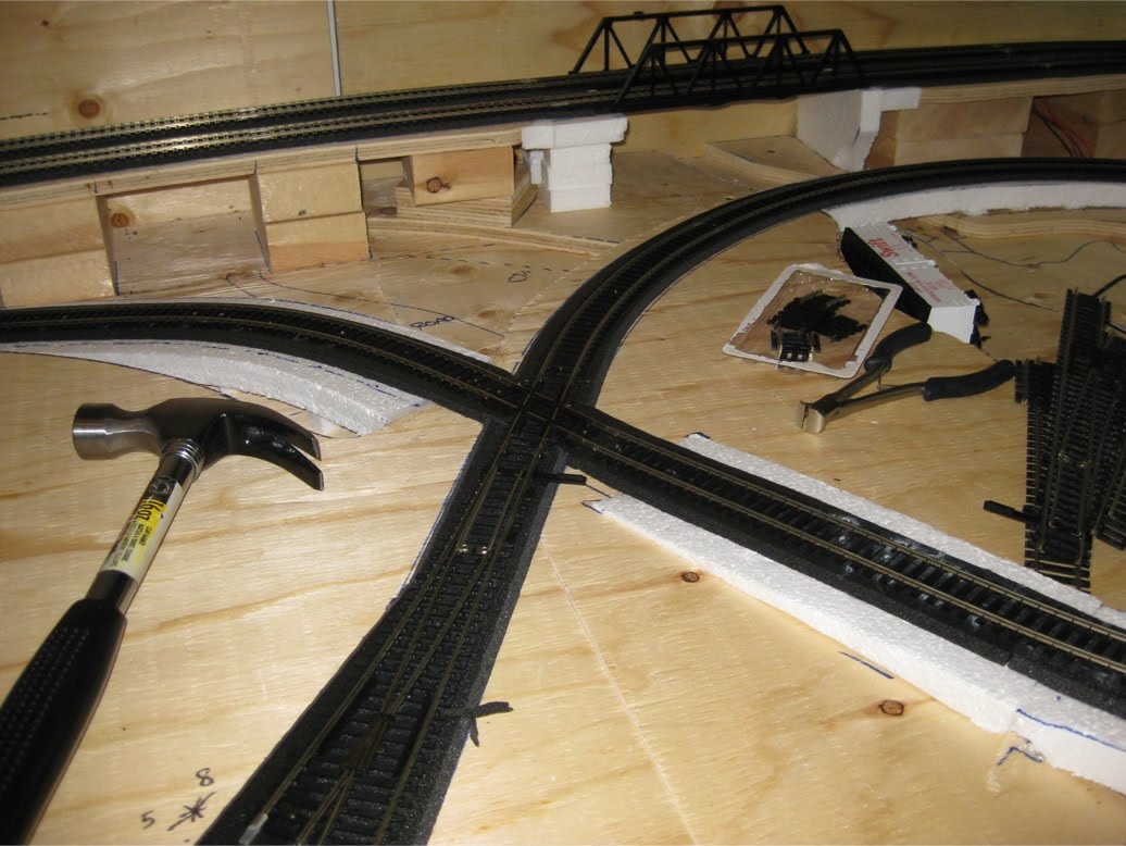 Installation of track with a 60 degree rail crossing and turnout