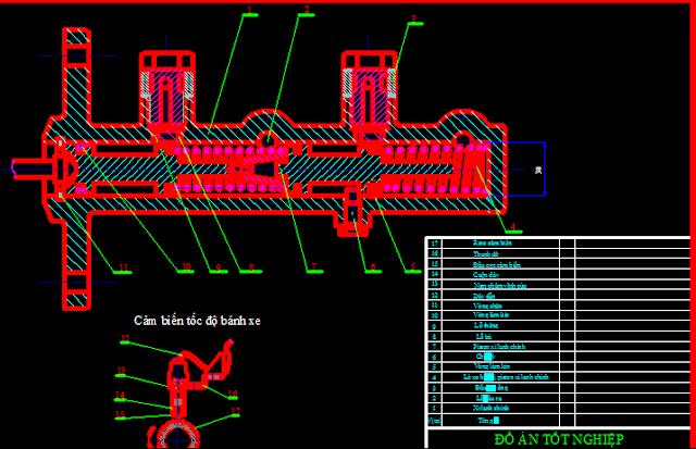 Bản vẽ hệ thống phanh xe ô tô con