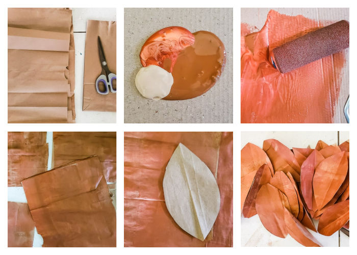 painting lunch bag sheets with mix of copper and brown, cutting out magnolia leaf shapes
