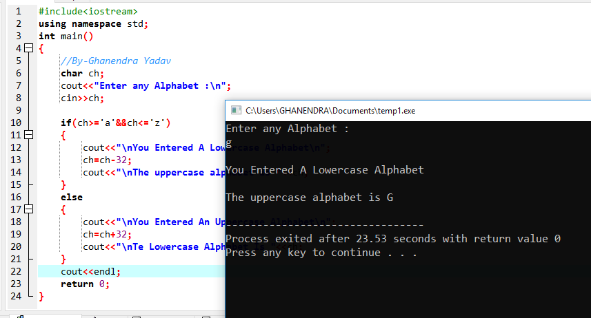 C++ Program To Convert A LowerCase To UpperCase Or Vice-Versa
