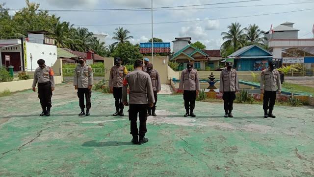 Personil polsek pematang karau laksanakan apel pagi di pimpin langsung kapolsek Pematang Karau