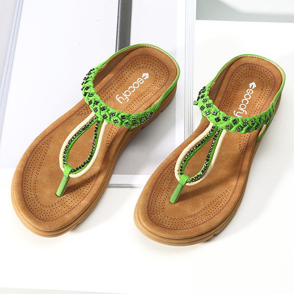 Rhinestone Flip Flops Soft Flat Clip Toe Beach Slippers