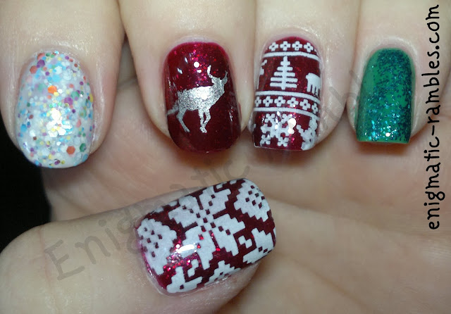 Golden-Rose-Jolly-Jewels-115-Essie-Leading-Lady-Stargazer,-silver-chome-bundle-monster-BM214-sinful-colors-Snow-Me-White-MoYou-Festive-Collection-04-Yes-Love-K033-festive-sweater-nails-nail-art