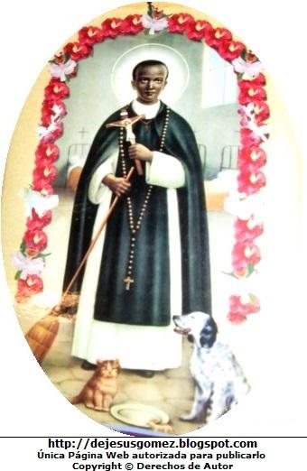 Dibujo de San Martín de Porres con la imagen de Jesús y junto a animales. Imagen de San Martín de Porres de Jesús Gómez