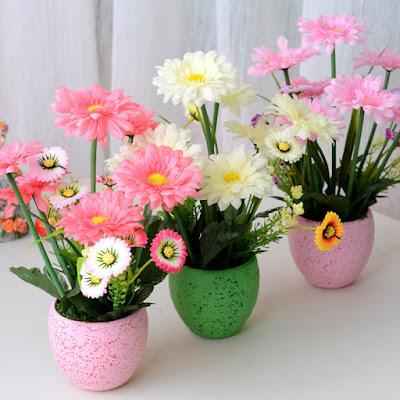 Contoh Bunga Hias Dalam Pot Modern Untuk Hiasan Meja