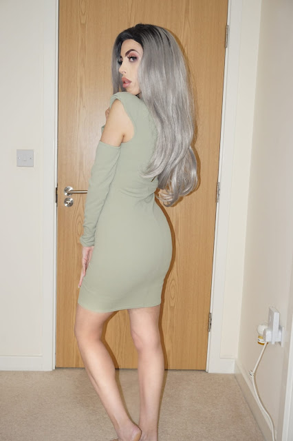 Femme Luxe Sage Cut Out Shoulder Pads Bodycon Mini Dress in model Colette.