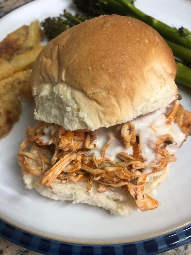 Slow Cooker Buffalo Shredded Chicken Sandwiches