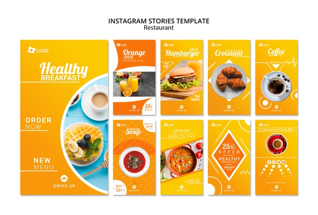 Restaurant instagram promotional stories template Free Psd