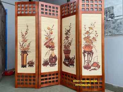 Bình phong gỗ tranh mành tứ bình đẹp nhất