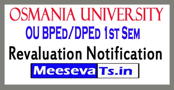 Osmania University BPEd/DPEd 1st Sem Revaluation Notification 2017
