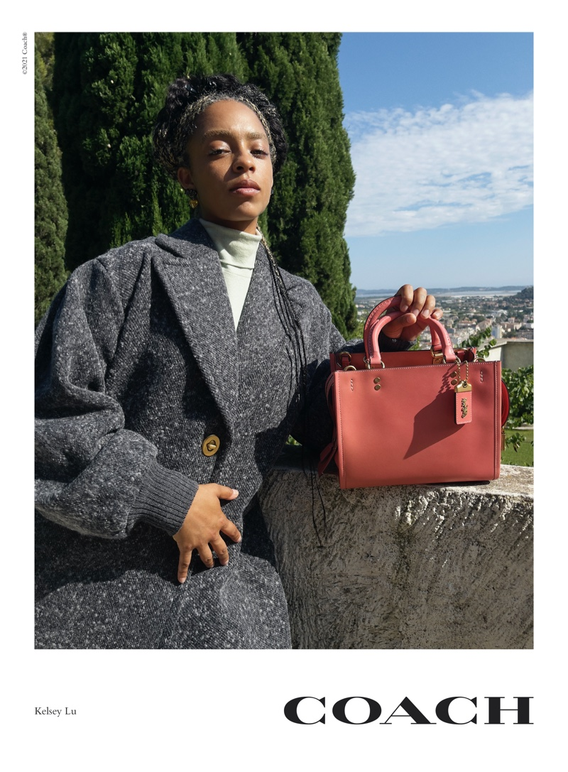 Kelsey Lu poses for Coach Rogue Bag campaign