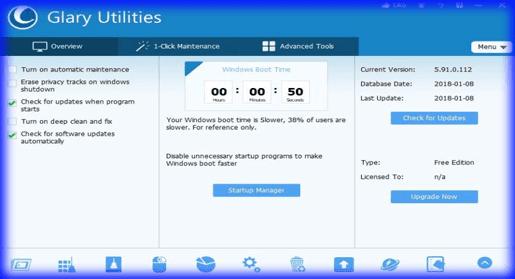 برنامج تسريع  الجهاز Glary Utilities