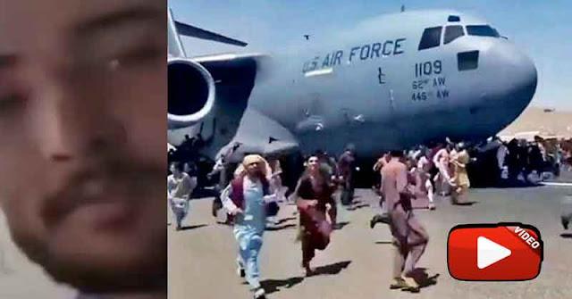 Afgano se grabó aferrado al avión norteamericano en pleno vuelo