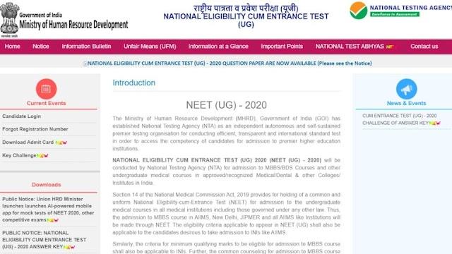 नीट 2020 प्रसन पत्र विभिन्न लैंग्वेजेज में रिलीज़ किये गए है