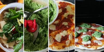 Tiefkühlpizza selbstgemacht - Zubereitung Pizza mit Rucolapesto, Rucola und Prosciutto