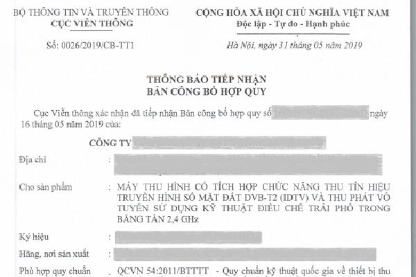 Thông báo tiếp nhận bản Công bố hợp quy cho Smart TiVi có DVB-T2