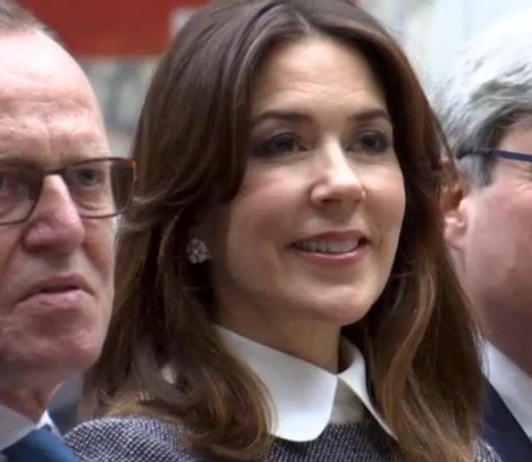 Crown Princess Mary wore Prada dress, Gianvito Rossi Patent Leather Pumps and carried Naledi Copenhagen Allana Latte Ostrich Clutch