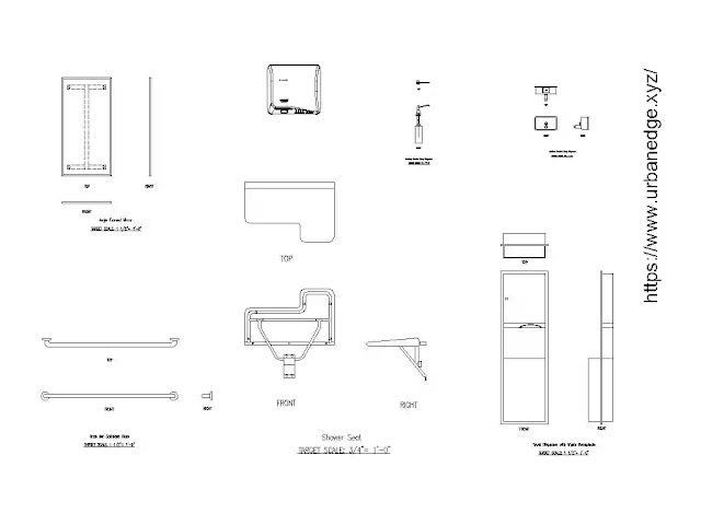 Toilet Accessories cad blocks - 15+ CAD Models