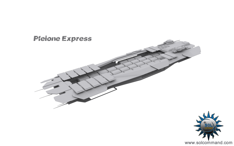 Pleione express freighter space ship transport craft hauler cargo pods containers dominium game solcommand concept art scifi futuristic