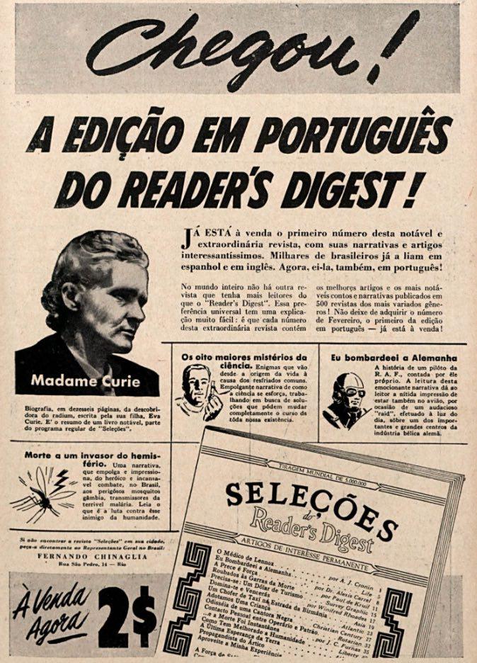 Propaganda antiga anunciando o lançamento da revista Seleções (Reader's Digest) em 1942