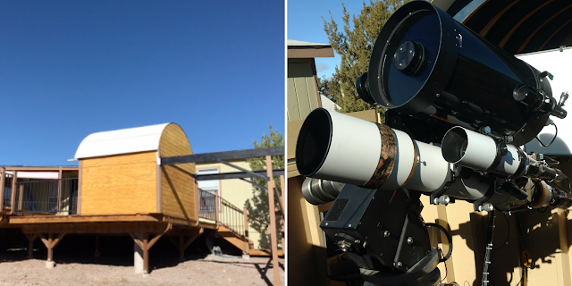 "Omega Observatory that houses Insight Observatory's 5"" f/7 Williams Optics Refractor (ATEO-2A) Deep-Sky and Celestron 11 f/10 (ATEO-2B) Planetary Imaging Systems. Photos by John Evelan - Sky Pi Remote Observatory."