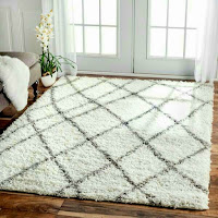 Living room rugs decor ideas with plush Morrocan trellis white shag rug