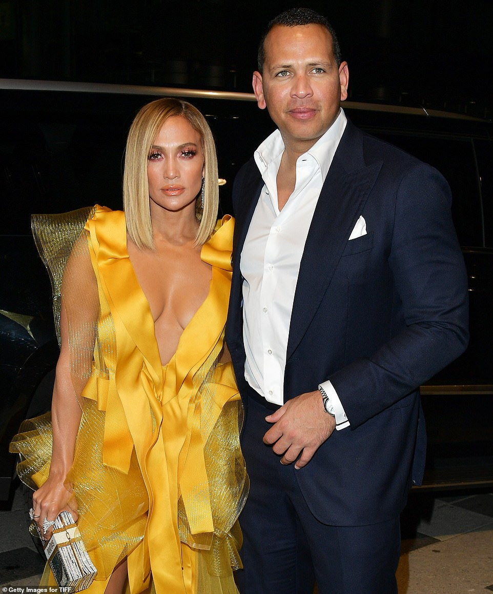 Jennifer Lopez and fiance Alex Rodriguez attend the Hustlers premiere at TIFF