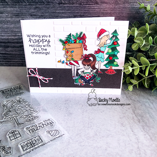 Wishing you a happy holiday by Becky features Christmas Trimmings by Newton's Nook Designs; #newtonsnook, #christmas, #cardmaking