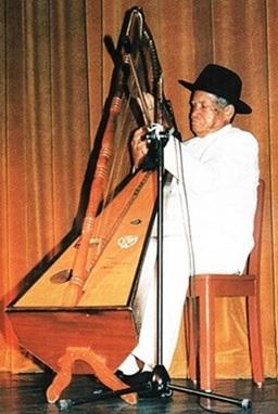 Foto de persona de tercera edad tocando el arpa