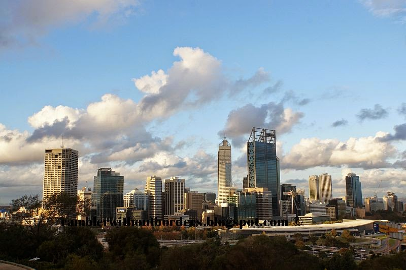View of city skyline from Fraser Avenue Precinct, Kings Park, Perth, WA, Australia