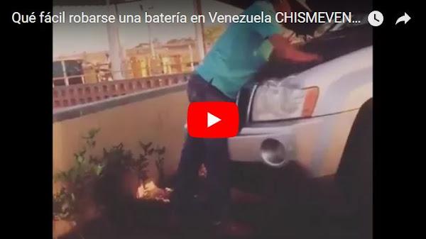 En 13 segundos se robó la batería de una camioneta