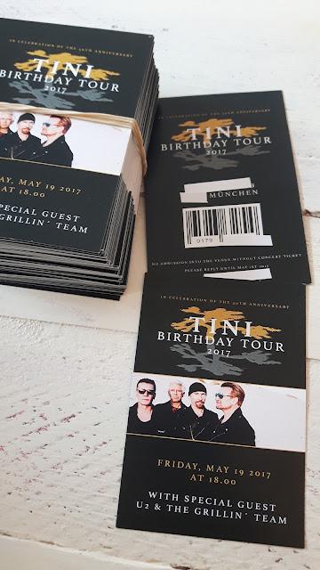 Einladungskarten DIY 40. Geburtstag Thema Rockstar U2