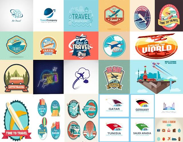 شعار شركة سياحة وسفر جاهزة للتعديل عليها بصيغة فيكتور
