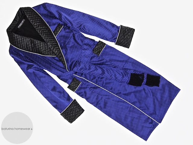 Mens smoking jacket silk dressing gown quilted robe
