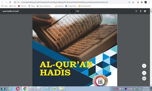 Buku Al-Qur'an Hadis kelas 4 sd/mi sesuai kma 183 tahun 2019