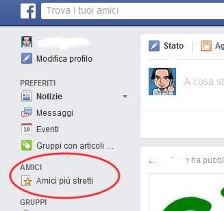 Dove si trova la lista amici di facebook
