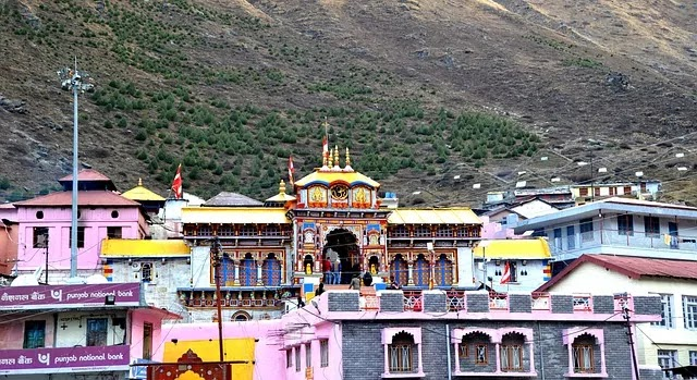 wide angle view badrinath temple