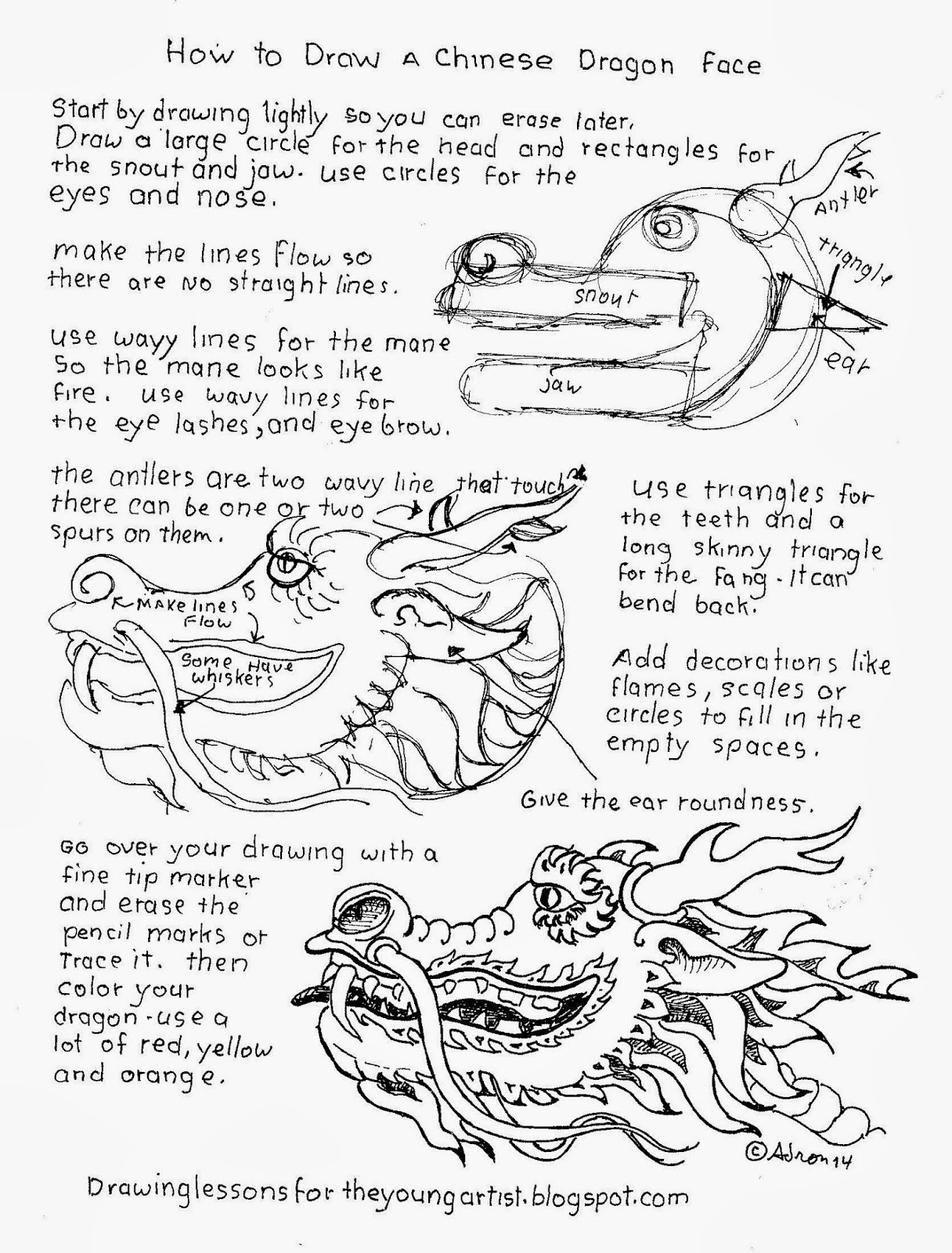 How To Draw A Chinese Dragon Head, Free Worksheet How To Draw Worksheets  For The
