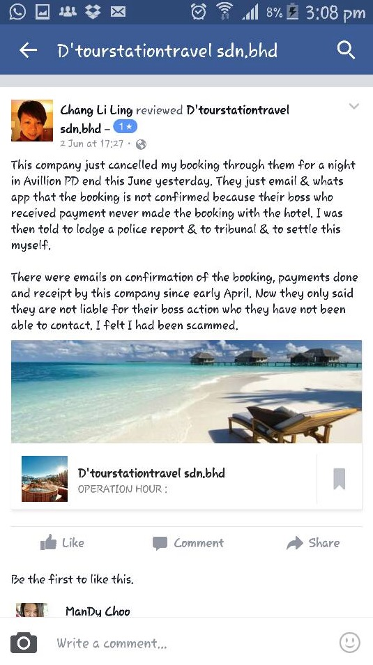 Travel Agency Scammer, D'tourstationtravel sdn.bhd