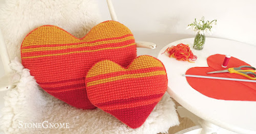 Striped heart shaped pillows - two sizes