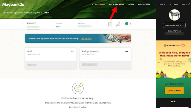 Cara Buat Bayaran i-Saraan KWSP Menggunakan Online Banking Maybank2U