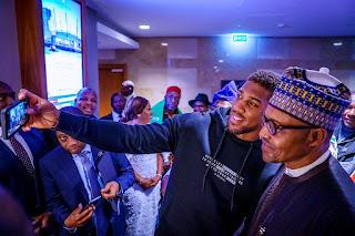 Anthony Joshua Arrives Nigeria To Present His Heavyweight Belts To Buhari (Photo)