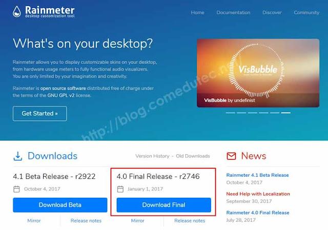 Rainmeter Software untuk Memantau Kinerja CPU