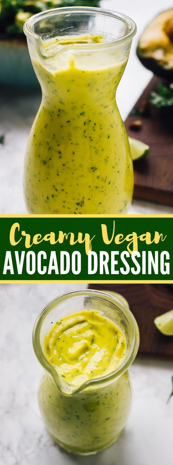 Creamy Vegan Avocado Dressing #veganrecipe #saladdressing